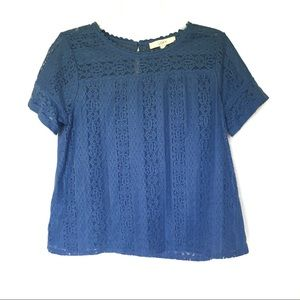 LOFT | Blue Crochet Lace Short Sleeve Blouse Top M